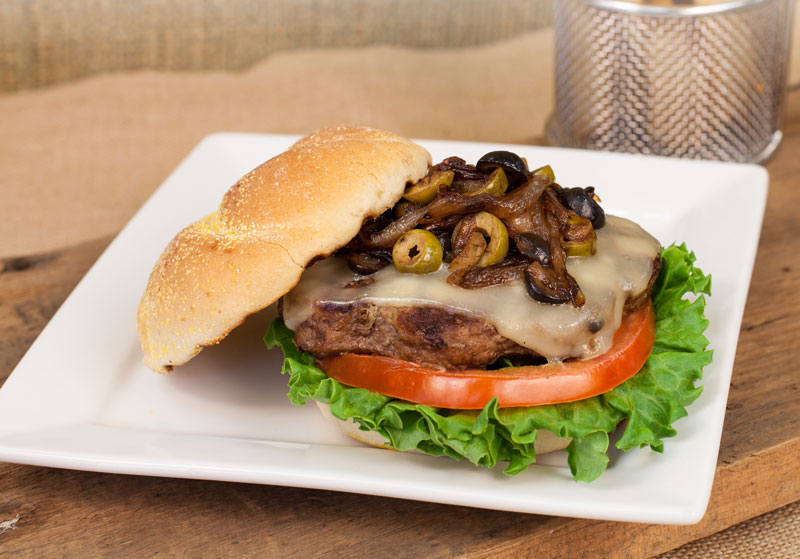 Foodservice Mixed Olive & Swiss Burger