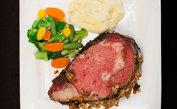 Food service menu item: Blue Cheese Crusted Prime Rib
