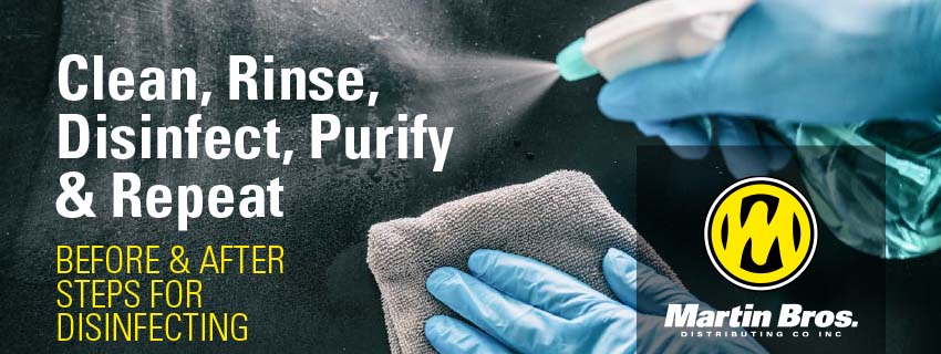 Clean, Rinse, Disinfect, Purify and Repeat - Steps for Disinfecting