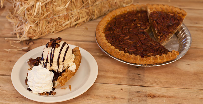Food service menu item: Pecan Pie with Cinnamon Ice Cream