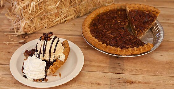 Food service menu item: Pecan Pie with Cinnamon Ice Cream