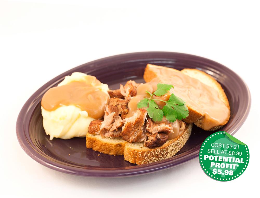 Food service recipe: Open Face Pork Sandwich