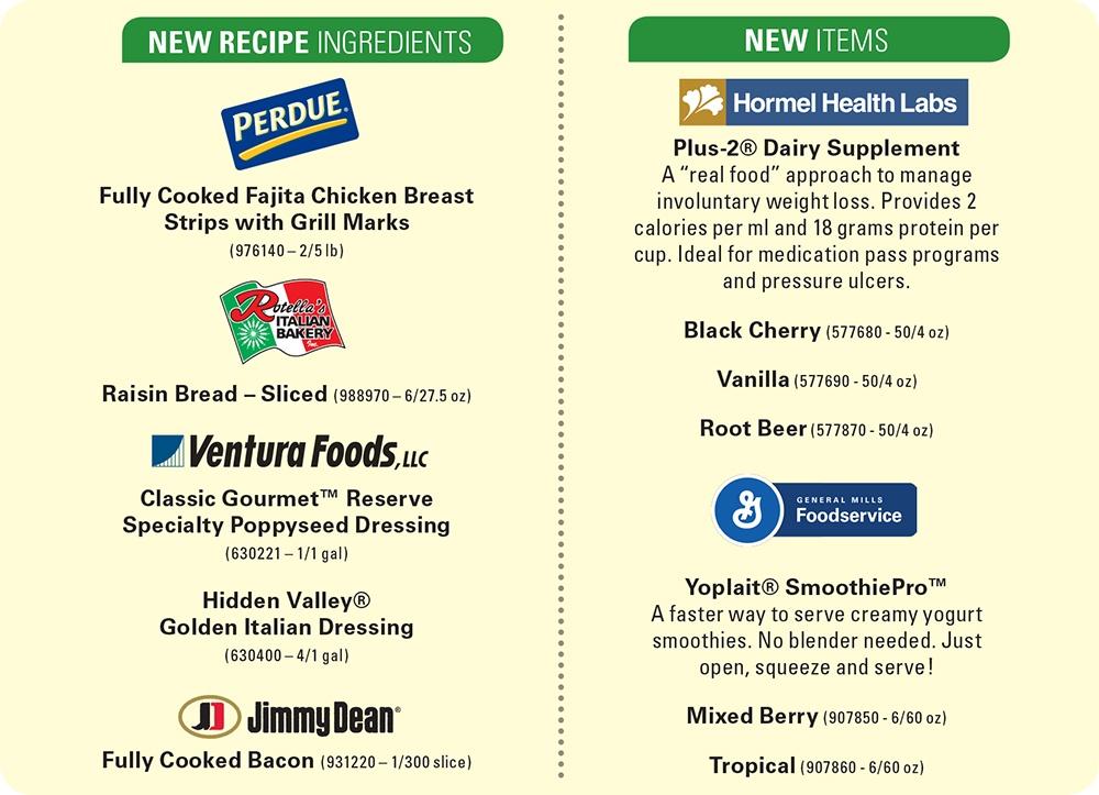 Senior Living Foodservice Item Options